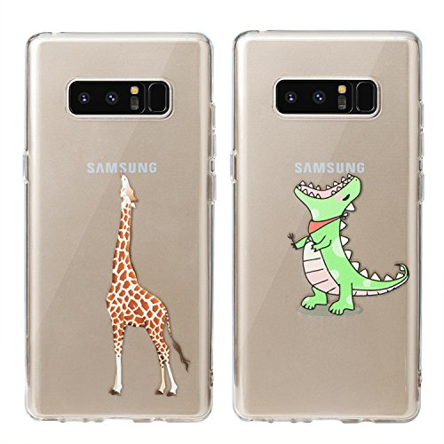 Buyus (2 Pack) Galaxy Note 8 Case Clear with Design, Anti Slip, Scratch Resistant, Slim Fit Premium Flexible TPU Silicone Protective Cover for Samsung Galaxy Note 8 6.3'' (2017)- (Giraffe, Dinosaur) - Giraffe Note