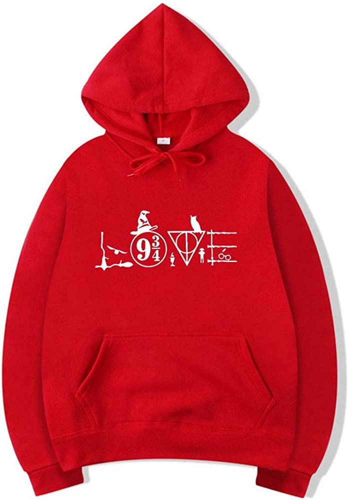 Love Nine Three Quarters Hoodie Pocket Long Sleeve Retro Graphic Print Rainbow Hoodies Pullover Sweatshirt