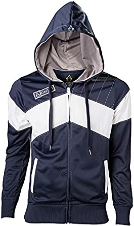 Chaqueta con capucha diseño de Assassins Creed, color blanco y azul: Amazon.es: Juguetes y juegos