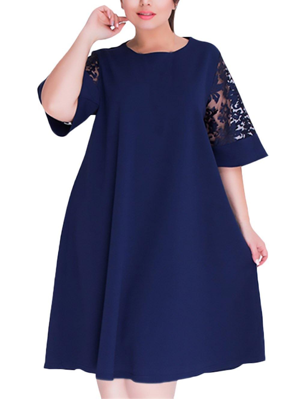 Vestidos De Mujer Hasta La Rodilla Para Gorda Elegantes Vintage Encaje Splicing Niñas Ropa Vestidos De Fiesta Media Manga Cuello Redondo Color Sólido Suelta ...