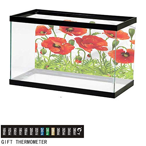 bybyhome Fish Tank Backdrop Ladybugs,Red Poppy Flower Border,Aquarium Background,24