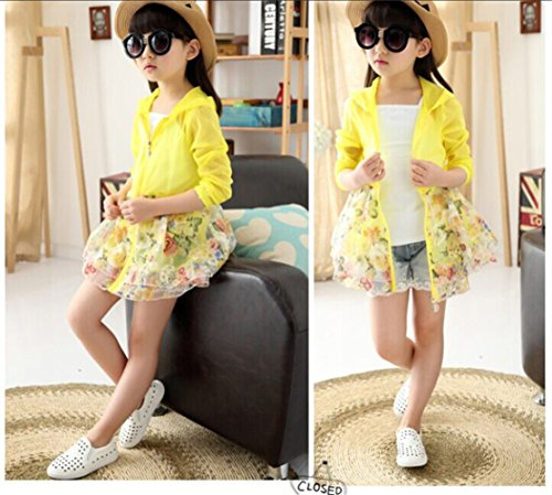 FTSUCQ Big Girls UPF 50+ Protection Cardigan Floatsuit Outerwear,Yellow 120 by FTSUCQ (Image #2)