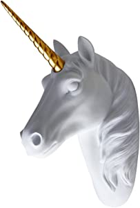 """Smarten Arts Animal Head Wall Decor, White Faux Furry/Felt/Velvety Resin Unicorn Head with Gold Horn For Wall Mount Decoration, Size 5"""" x 8"""" x 13"""" by"""