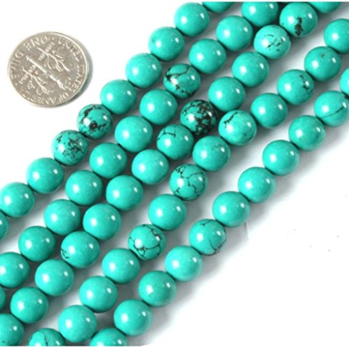 AAA Natural Howlite Green Turquoise colored Gemstone Loose Round Beads 8mm Spacer Beads For Jewelry Making 15.5