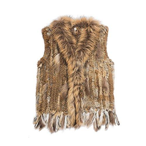 Warm Winter Mongolian Real Rabbit Fur Vest Jacket for Women(Black,M)