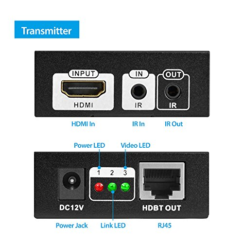gofanco HDMI Extender 4K 60Hz HDBaseT Ultra HD over CAT5e/CAT6/CAT7 Ethernet cable with Bi-directional IR, POE Up to 70 meters (230 feet) @ 1080p 60Hz 40 meters (130 feet) @ UHD 4K 60Hz, HDCP 2.2 by gofanco (Image #2)