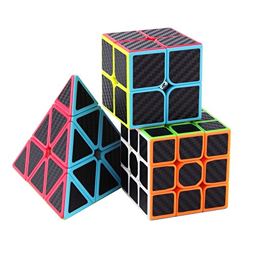 (Roxenda Speed Cube Set, Magic Cube Set of 2x2x2 3x3x3 Pyramid Cube Carbon Fiber Improved Version Speedcube)
