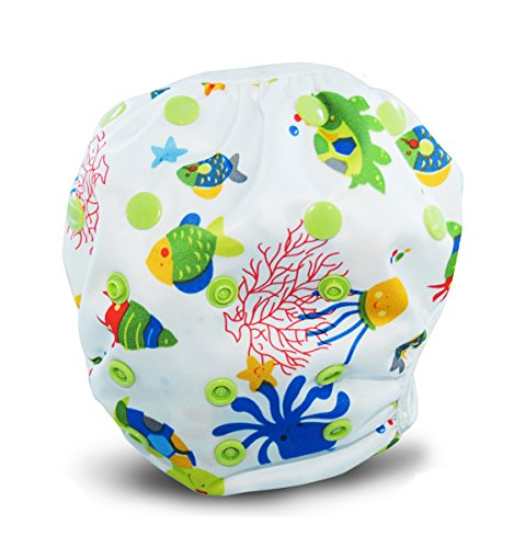 Reusable Swim Diapers - Adjustable for Babies & Toddlers 0-36 Months Old Boys & Girls - By BusyBaBee (Sea Life)