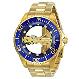 invicta gold watch blue dial - Invicta 24695 Men's Pro Diver Ghost Bridge Blue & Gold Transparent Dial Yellow Gold Bracelet Watch