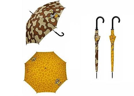 Paraguas adulto largo de 61cm de Kukuxumusu cebris + jirafis + tetis