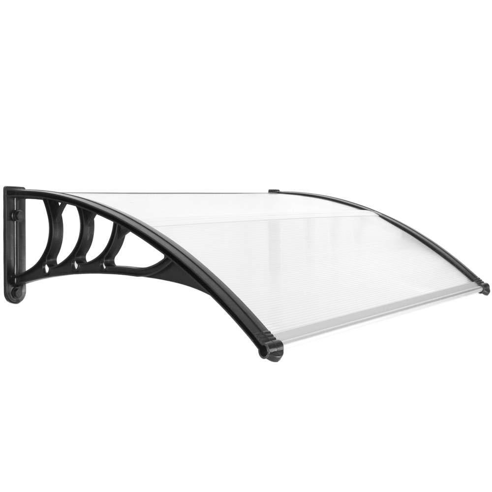 PrimeMatik - Canopy awning for door and window Patio cover shelter black 100x80cm PrimeMatik.com