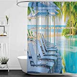Shower Curtains Pink Roses House Decor Collection,Luxury Hotel Pool Near Beach Palm Trees Exotic Resort Umbrella Sunbed Chair Picture,Green Aqua W48 x L72,Shower Curtain for Bathroom