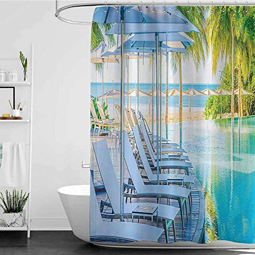 Shower Curtains Pink Roses House Decor Collection,Luxury Hotel Pool Near Beach Palm Trees Exotic Resort Umbrella Sunbed Chair Picture,Green Aqua W48 x L72,Shower Curtain for Bathroom (Beach Umbrella Near Me)