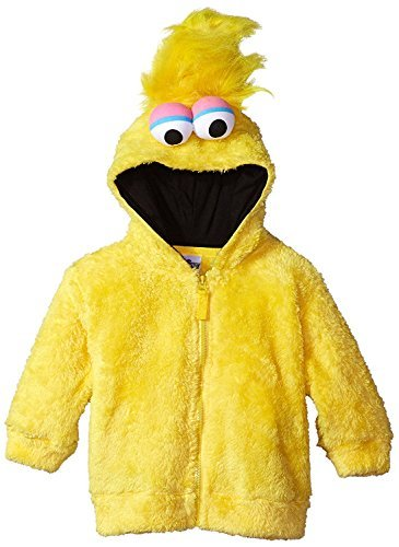 Sesame Street Toddler Boys' Fuzzy Costume Hoodie (Multiple Characters), Big Bird Yellow, -