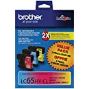 Brother LC65HYCL High-Yield 3-Pack Ink Cartridge, 900 Page-Yield, Cyan Magenta Yellow