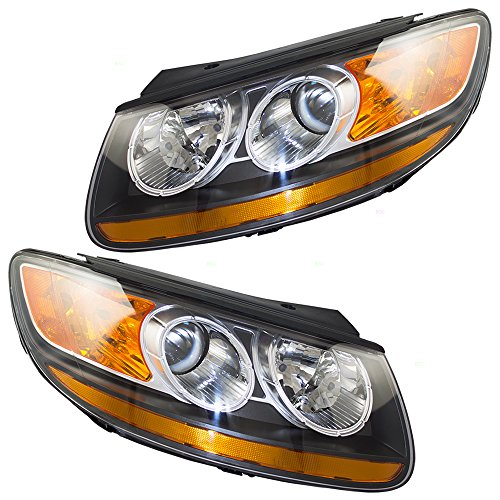 Driver and Passenger Headlights Headlamps Replacement for Hyundai Santa Fe SUV 92101-0W060 (Hyundai Santa Fe Suv)