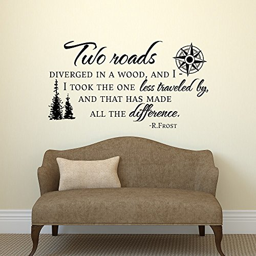 Road Less Traveled Robert Frost Wall Decal Quote- Vinyl Wall Decals Quote Travel Decor- Inspirational Quote Wall Decal by Wall Decall Art
