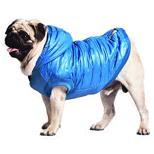 Kuoser Outdoor Cotton Thickened Soft Fleece Lining Windproof Dog Vest Pet Winter Coat Warm Dog Apparel for Cold Weather Hoodies Dog Jacket for Small Medium Dogs,Blue L