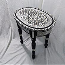 W88 Mother Of Pearl Moroccan Corner Wood Oval Table Black End Coffee