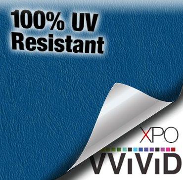 VViViD Blue Weatherproof Faux Leather Finish Marine Vinyl Fabric (10ft x 54
