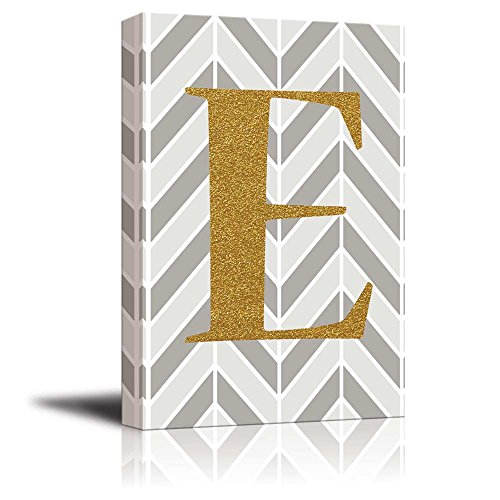 The Letter E in Gold Leaf Effect on Geometric Background Hip Young Art Decor