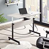 """Mr IRONSTONE Height Adjustable Desk Sit-Stand 45.7"""" Elevate Mobile Computer Desk Home & Office Utility Table with Rolling Wheels"""