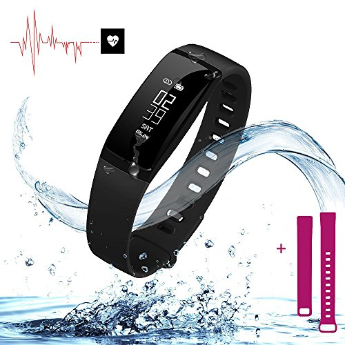 Fitness Tracker   Smart Bracelet Wristband with Blood Pressure Monitor Heart Rate Monitor   Sports Watch with Pedometer Calorie Counter IP67 Waterproof for iPhone and Android (Black + Purple Straps)