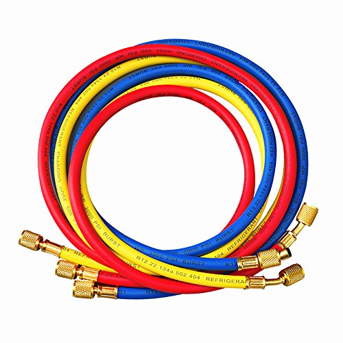 """ANTFEES 72"""" AC Charging Hoses Tube for R134a Air Conditioning Refrigerant 1/4"""" SAE Thread Hose,3pcs"""