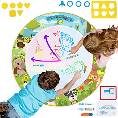 (Ha&Da Round Magic Doodle Mat - Educational Aqua Painting /Water Drawing Mat for Kids and Toddlers in Backpack w/ Magic Pens, Brush, Stamps, Roller, Stencils, Design Booklet - Diam. 39 Inches)