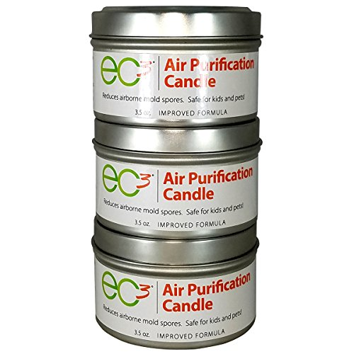 EC3 Air Purification Candles-3 Pack-Decrease Levels of Mold Spores and Mycotoxins, All Natural, No Fragrance, Botanical Ingredients in Soy Wax ()