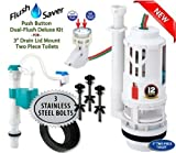 "FlushSaver SPLIT PUSH BUTTON EURO-STYLE 3'' Dual-Flush Deluxe DIY Conversion Kit - CONSERVES WATER by replacing single flush mechanisms. FITS 3"" DRAIN TWO PIECE LID MOUNT TOILETS"
