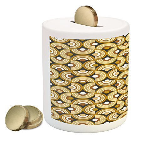 (Ambesonne Retro Piggy Bank, Funky Abstract Motif Half Circular Inner Round Forms Spiral Hoops Artwork, Printed Ceramic Coin Bank Money Box for Cash Saving, Grey Marigold Cinnamon)