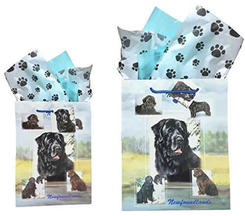Dog Breed Gift Bags Set of Two with Tissue Paper (Newfoundland)