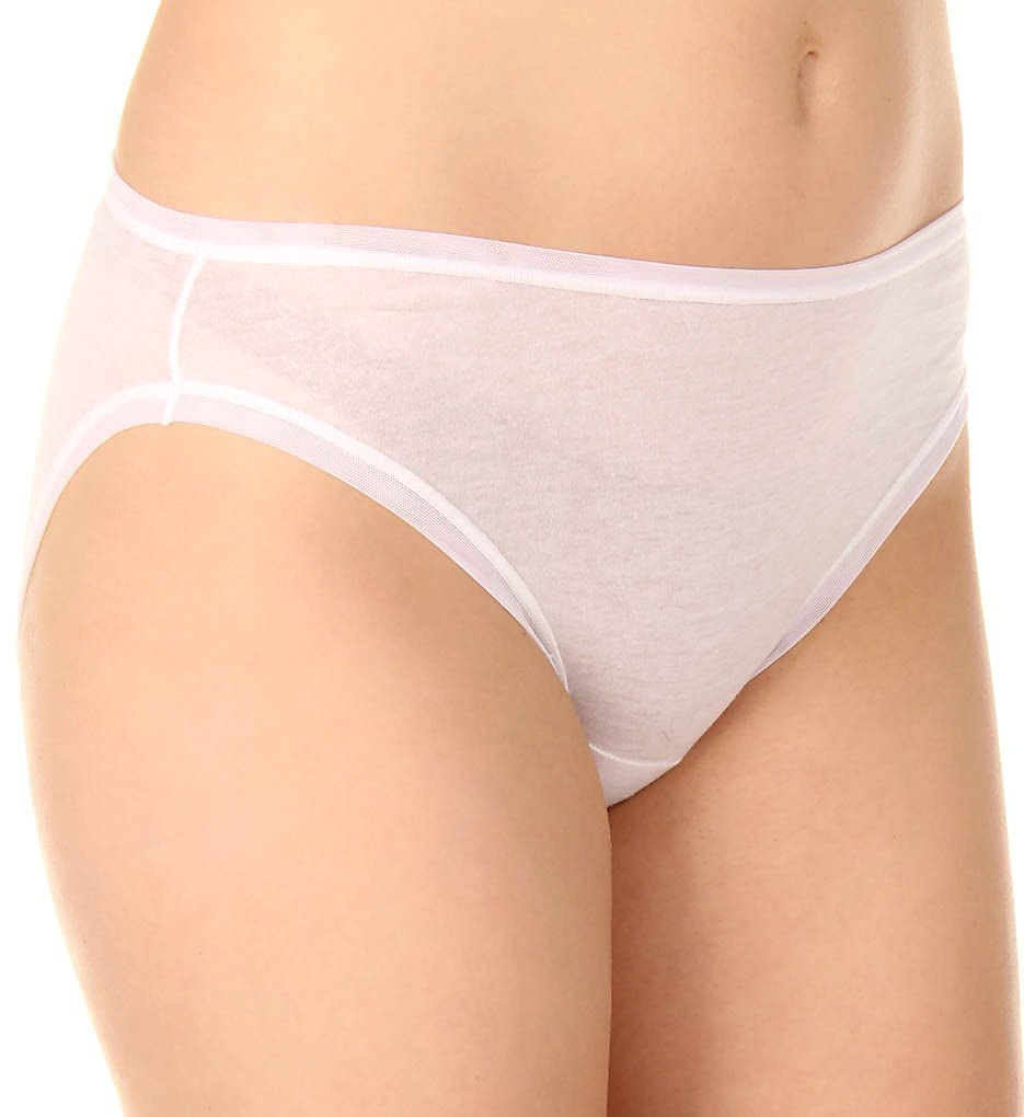 Fine Lines Pure Cotton Hi-Cut Brief Panty (13RHC34) XL/White