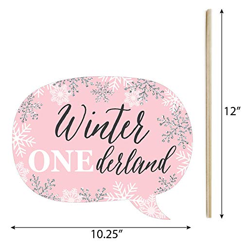 Funny Pink ONEderland - Holiday Snowflake Winter Wonderland Birthday Party Photo Booth Props Kit - 10 Piece Photo #4