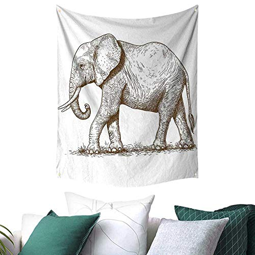 - Elephant Tapestry for Bedroom African Safari Animal Sketchy Style Mammal Modern Wilderness Artistic Illustration Picnic/Beach Blanket/Throw/Sheet 70W x 93L INCH Gold White