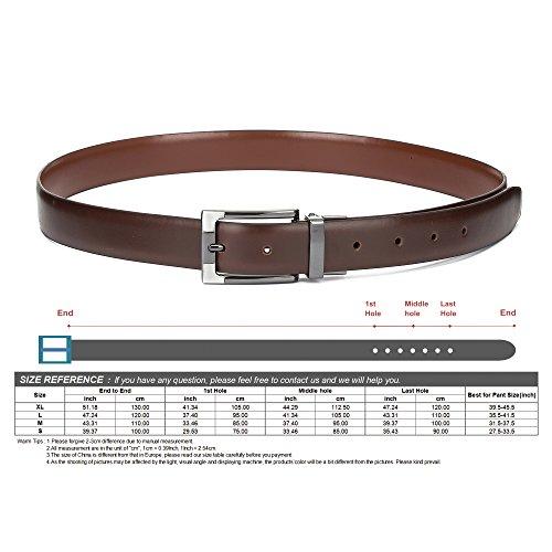 """Tanpie Reversible Belt for Men Dress Belt Leather 1 1/8"""" Wide Rotated Buckle Brown/Tan XL by Tanpie (Image #5)"""