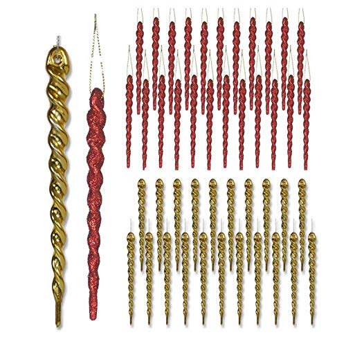 (BANBERRY DESIGNS Red and Gold Decorations - Set of 48 Red and Gold Glitter Icicles - Includes 24 Shiny Gold Icicles and 24 Red Glitter Icicles - Shatterproof Icicle Ornaments)