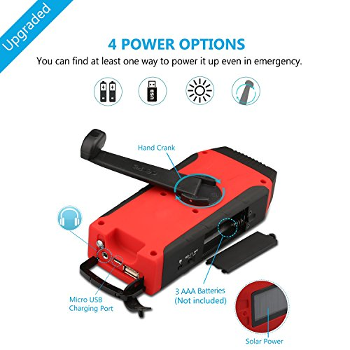 [2016 Upgraded]ELECLOVER Solar Crank AM/FM/NOAA(WB) EWS Alert Weather Radio with LED Flashlight, Cell Phone Portable Charger + a Multifunctional Bracelet
