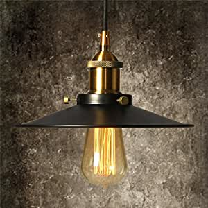 Vintage Industrial Pendant Light with Adjustable Cord, Elfeland Ceiling Mounted light 1 Light, 8.8'' Diameter, Antique Tone Lampshade for Kitchen Dining Room Counter