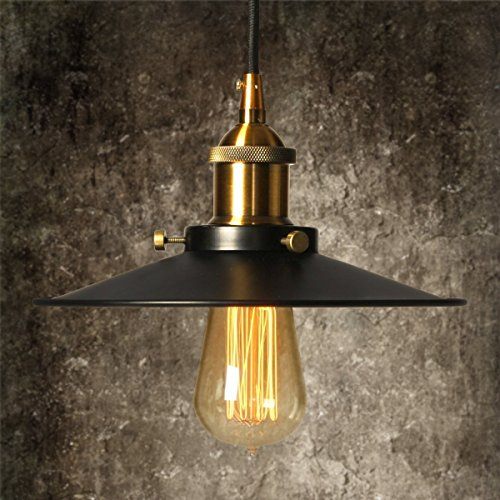 Elfeland Retro Industrial Metal Pendant Light 1 Light, 8.8'' Diameter, Adjustable Hanging Height, Ceiling Mounted, Vintage Tone Lampshade perfect for Kitchen Restaurant Bar Counter Dining Room