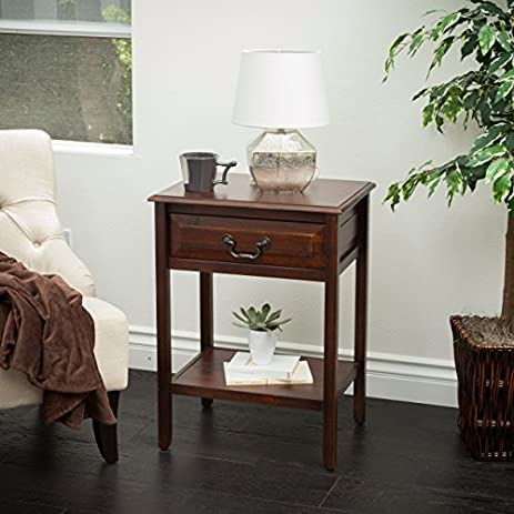 Noah Brown Mahogany Wood Top Drawer Accent Table