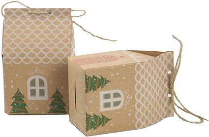 Kingsley 50pcs Caja de Regalo de Papel Kraft de Navidad de Estilo Europeo Caja de Galletas de Chocolate Dulce Caja de Regalo Pequeña y Fresca en Forma de Casa: Amazon.es: Oficina y