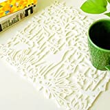 yazi 4pcs White Deer Flower Diecut Square Non-Woven Fabric Placemats Heat Resistance Bowl Pads