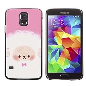 LECELL--Funda protectora / Cubierta / Piel For Samsung Galaxy S5 SM-G900 -- Puppy Cute Pink White Sheep --