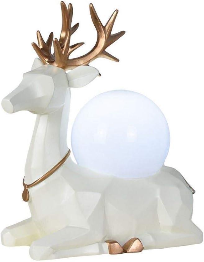 パーフェクト 樹脂鹿デスクランプクリエイティブリビングルームの寝室研究室装飾的人格テーブルランプ(ホワイト) ホーム