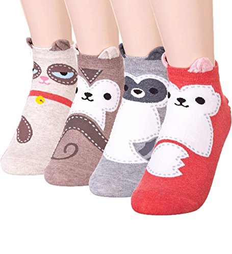 GYT 4 Pairs Cute Animal Socks Fun Casual Quality Women Teen Girl Ankle Socks, Birthday Gifts Crazy Socks Day (Teen Girls Stockings)