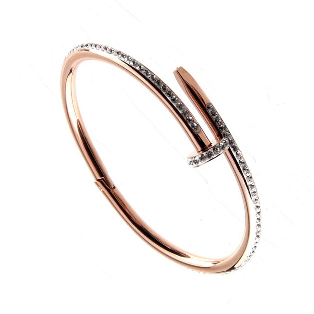 HOKY Full Crystals Screw Nail Cuff Bracelets Bangles Women Stainless Steel Love Gift KB09004WJCA
