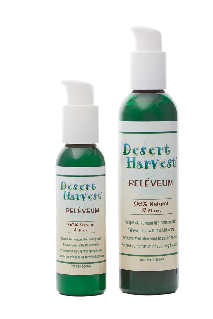 Desert Harvest Reléveum® Skin Repair Cream (4 oz) 4% Lidocaine 96% natural with organic aloe vera, calendula - shingles, hemorrhoids, radiation dermatitis, burns, vulvodynia