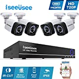 Iseeusee 4-Channel 1080N Video Security DVR Surveillance Camera Kit, 4x1500TVL 720P Indoor Outdoor Weatherproof Bullet Cameras 100 Feet Night Vision Support Smartphone Remote Access(NO HDD)